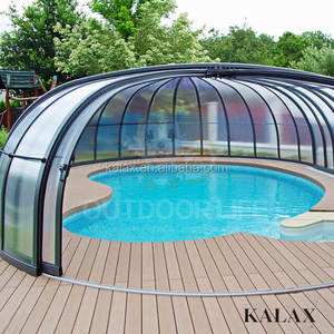 Polycarbonate Swimming Pool Cover / Roof Retractable aluminum telescopics pool enclosure