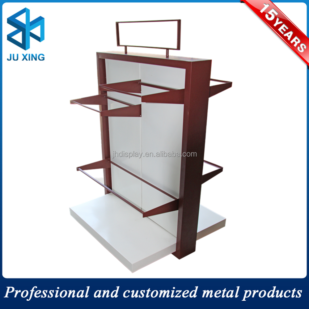 double side glass shelves supermarket display rack for vegetable and fruit JH-342