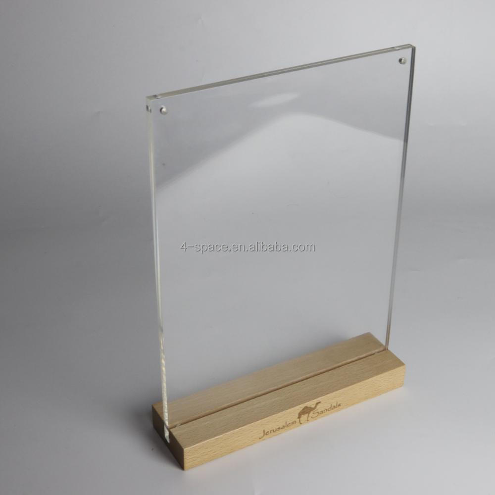 customized acrylic a5 sign holder with magnets vertical T shape sign holder wood base acrylic table menu display