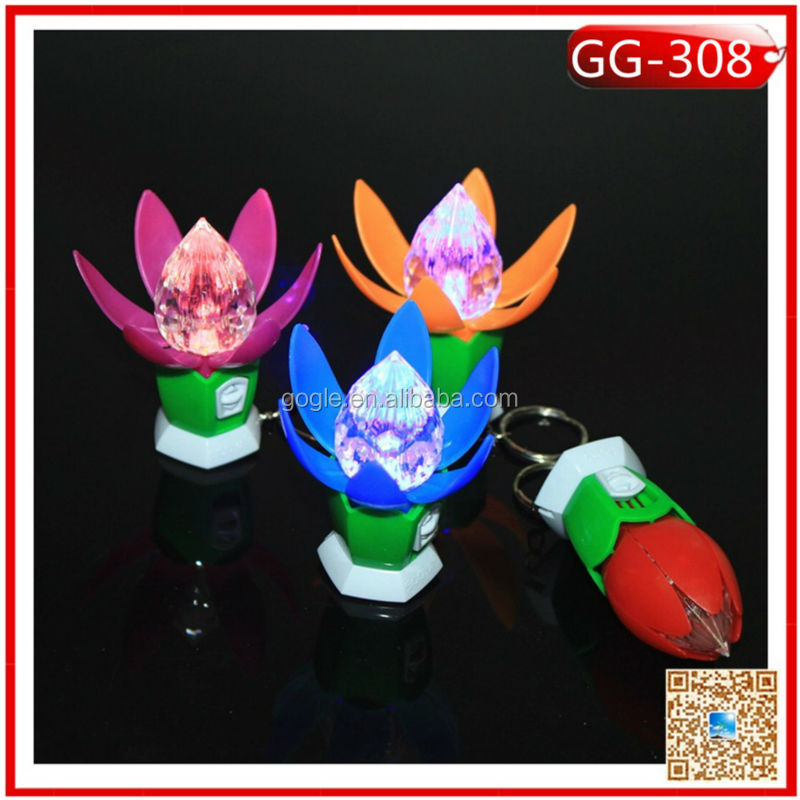 Crystal Lotus flowers plastic key chain