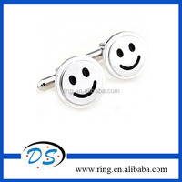 Silver Tone Cute Smile Face Cufflinks Father Gift Stainless Steel Cufflinks