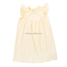 Wholesale kids yellow ruffle baby clothes cotton frocks design model dresses for girls