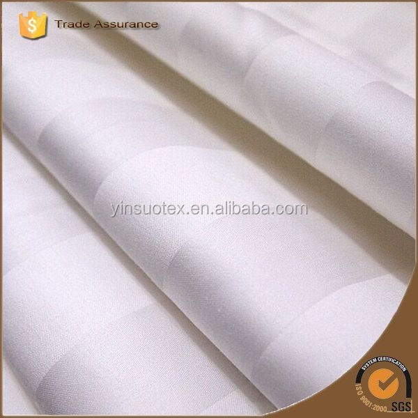 Wholesale cheap hotel use white Satin Stripe Fabric / cotton bedding cloth supplier