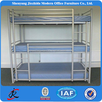 modern strong hotel hostel cheap steel metal triple 3 floor bunks bed for adult