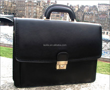 Hot popular fashion black leather briefcase men business bag 17 inch laptop bag
