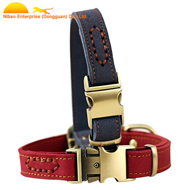 Luxury Dog Collars Genuine Leather Padded Pet Collars for Small Medium dog