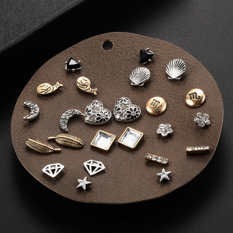 2017 Promotion Jewelery For Women Beauty Spade Stars Poker Triangle Shaped Stud Earrings Sets