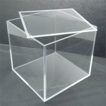 Transparent custom acrylic box plexiglass cube box display box with plastic lid