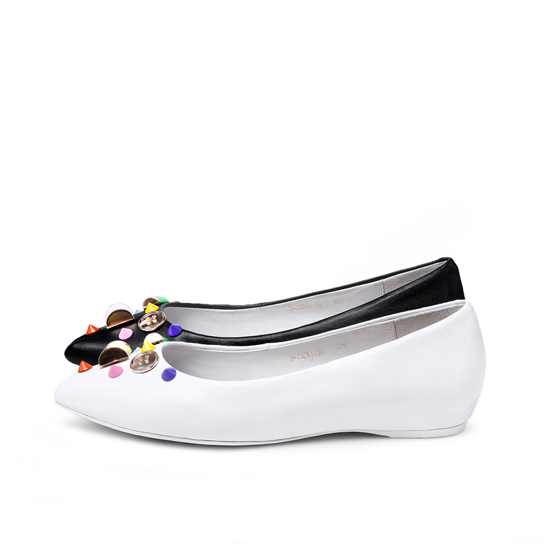 1095 Special decoration best comfortable woman black and white ladies dress shoes