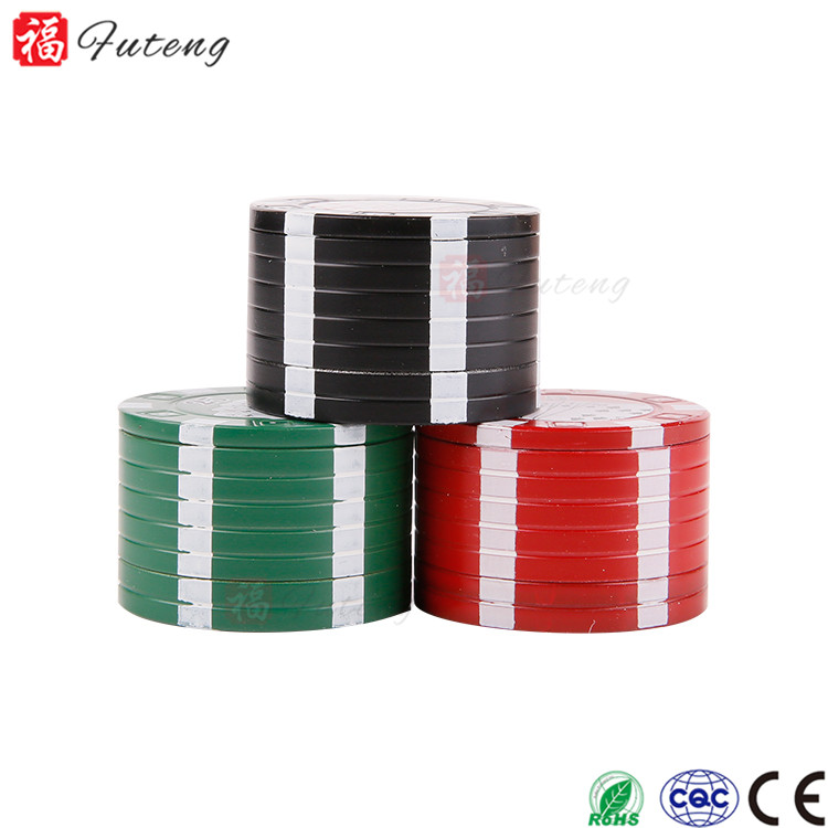 Newest 3 Parts Poker Chip Herbal Herb Tobacco Grinder Smoke Crusher Hand Muller