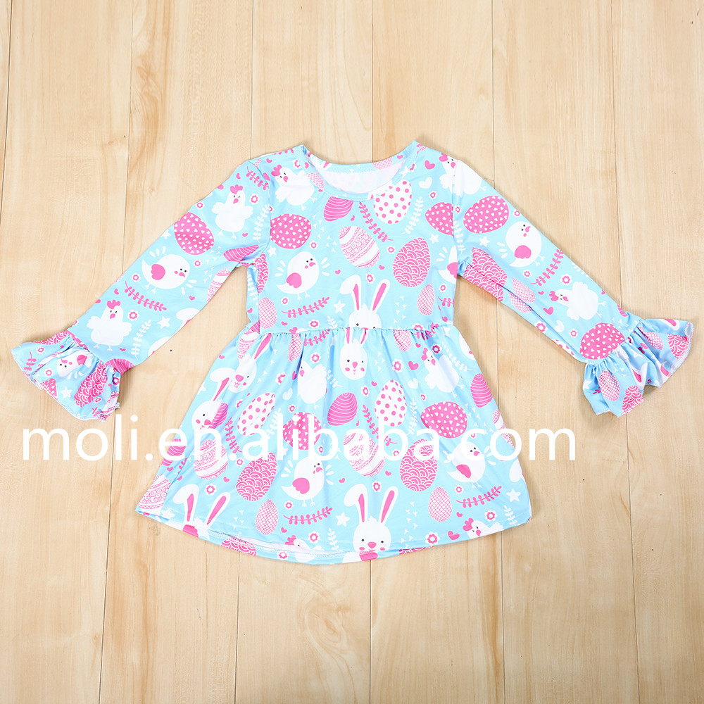 wholesale spring infant baby dresses long sleeve ruffle baby cotton frocks designs