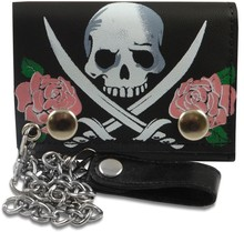 Hot sale printed skull trifold genuine leather trucker chain wallet