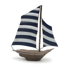 Unique Metal Model Sailboat Tabletop Figurine, Nautical Standing Gome Decoration