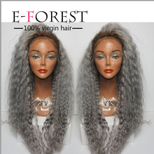 7A grade human hair wig lace front wig 200%density Afro kinky curly hair Ombre light grey hair wig