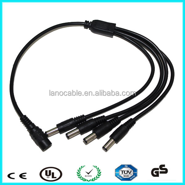 Wholesale cheapest cctv accessories 1 to 4 way dc splitter cable
