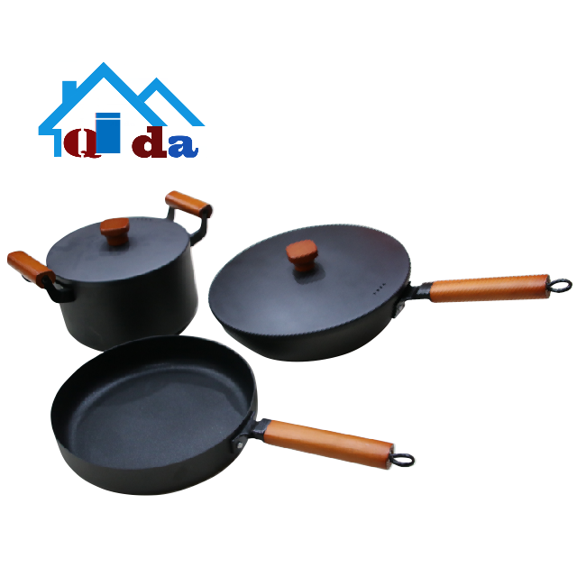 kitchenwareblack Iron  Environmental protection   Iron cookware sets  Multi-functional  frying pan pot set