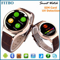 "1.22"" Leather + UV Detection Bluetooth smart watch 2017 for samsung C5000"