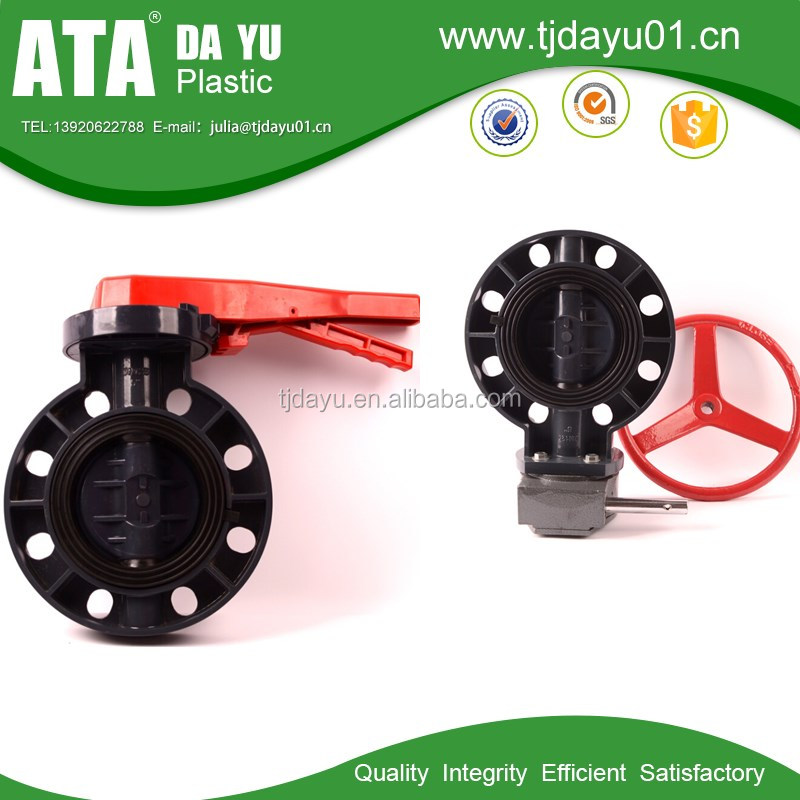 manual operation geared steering wheel wafer connection butterfly valve