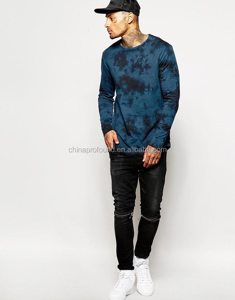 longline tshirt long sleeve tie dye t-shirt mens tie dye clothing