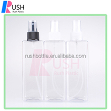250ml transparent square water face mist hair body shampoo cosmetic spray bottles