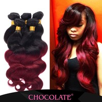 Factory price Ombre color black &burgundy hair piece Chocolate Human Hair Extension Famous Brand