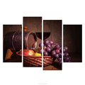 4 Panels Vintage Wall Art Red Wine Grape Fruit Canvas Painting HD Still Life Painting for Living Room Decoration