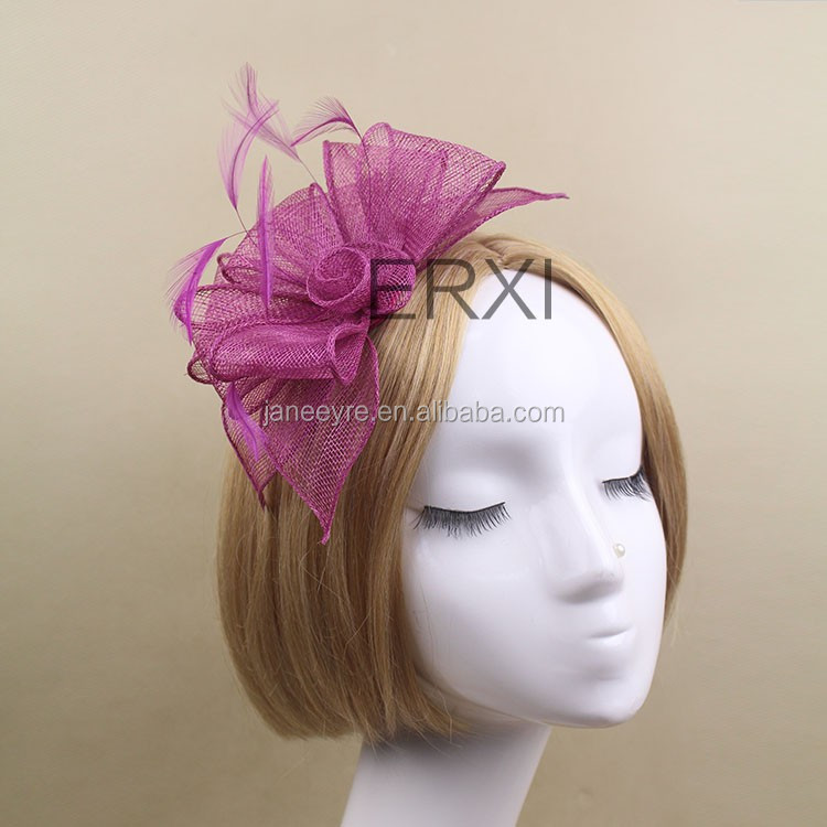 Wholesale Ladies Decoration Party Sinamay Fascinator Wiht Feather Fashion