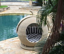 Tropical style cute big outdoor leisure sun lounger with shade rattan apple bed