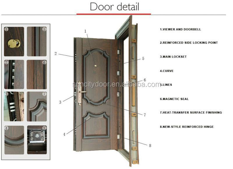 Sc s023 good quality steel double door used exterior buy for Steel front doors for sale