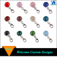 China wholesale gemstone ball shape birthstone charms pendant for jewelry