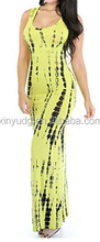 Tie Dye Print Cut Out Scoop Neck Sleeveless Long Party Evening Maxi Dress