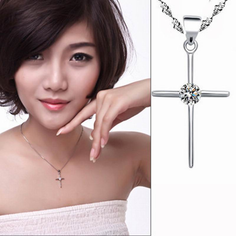 Simple Silver Color Cross Crystal Pendant Short Thin Chain Necklaces Accessory For Women