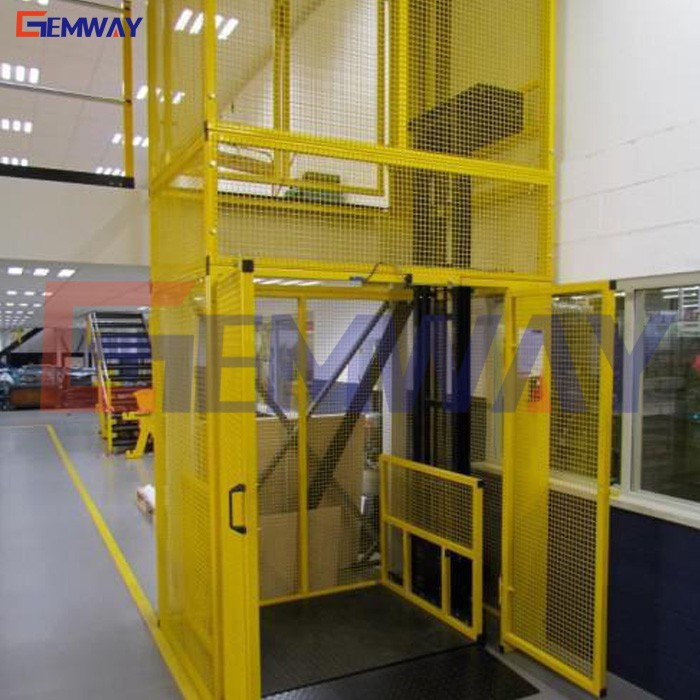 Vertical electric wall mounted guide rail goods lift platform price