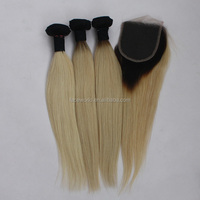 cheap indian ombre color black blonde straight hair weft with closure