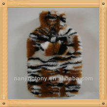Classic tiger stripes plush rubber hot water bottle cover for Valentine's Day gift