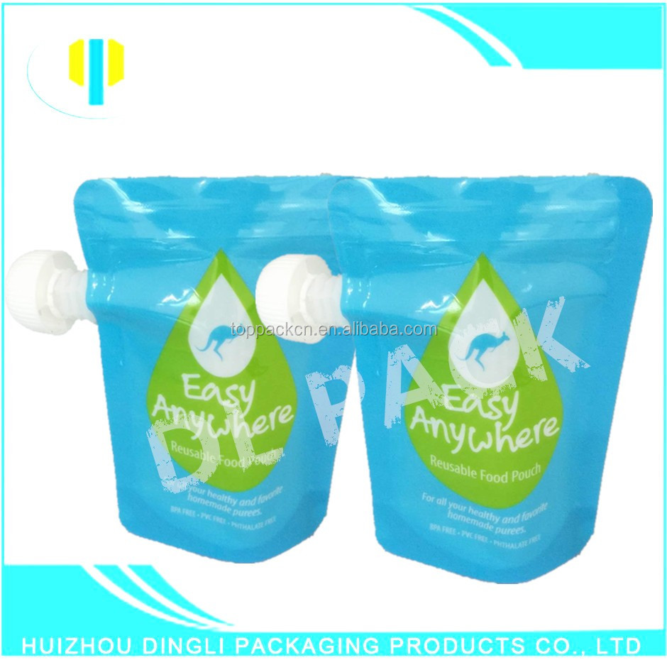 OEM waterproof baby food easy carry stand up spout pouch for juice/water/milk