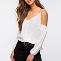 Newest button placket design off shoulder women tops