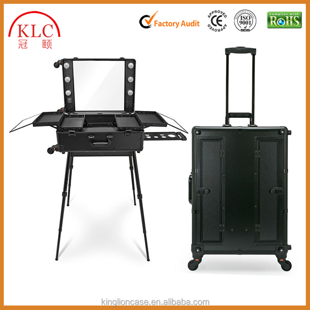 Wholesale beauty case cosmetic case with trolley
