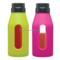 See- through window glass water bottle with silicon gel protective sleeve