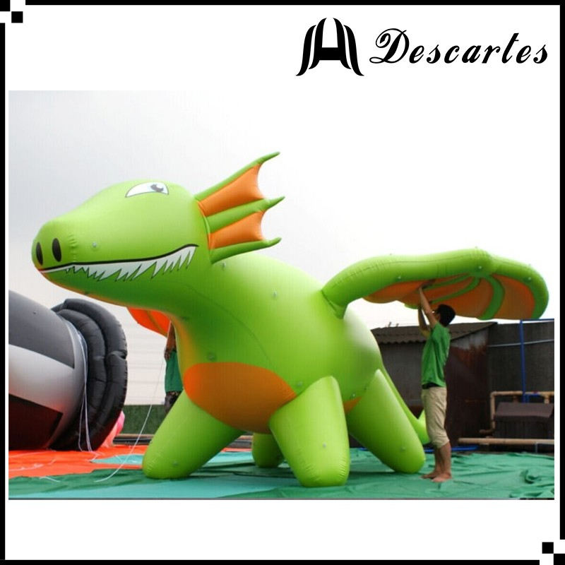 PVC made large inflatable flying green dragon for advertising