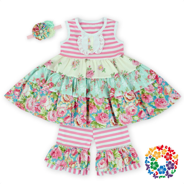 Girls Ruffle Shorts Set smocked children clothing wholesale boutique clothing spring 2016 baby ruffle shorts