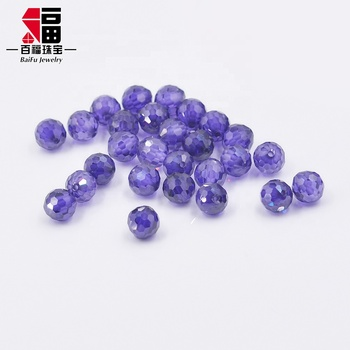 2019 wholesale price diameter 6mm 홀 size 2mm loose cutting cubic 지르코니아 football beads