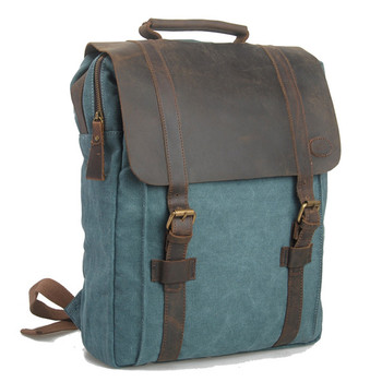 6820 Unisex Retro Casual School Custom Canvas Leather Laptop Backpack