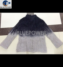 Stock item real knitted rabbit fur jacket women TD1975