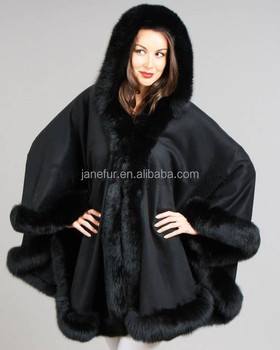 Cashmere Cape with Detachable Hood & Fox Fur Trim - Black