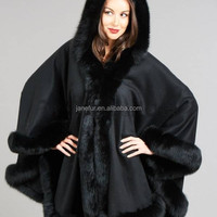 Cashmere Cape With Detatchable Hood Amp