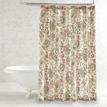 84 Inch American Bathroom Delicate Print Botanical Floral Shower Curtain