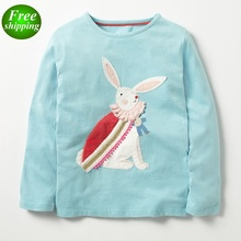 Bunny embroidery rainbow striped long sleeves infant t-shirt casual toddler boy shirts