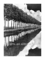 OEM premium quality famous black and white paintings for hotel decor, river and tree oil paintings supplier