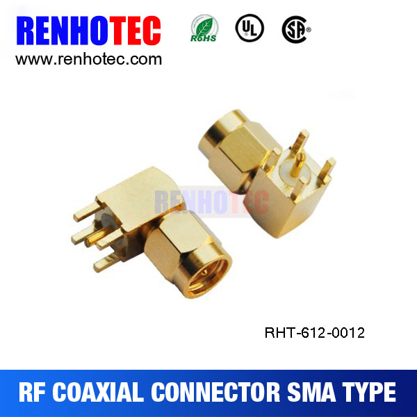 sma male connector pcb mount right angle sma plug adapter